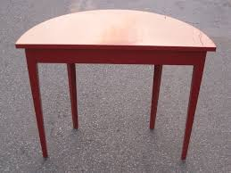 spectacular high gloss red lacquer demi lune console table for