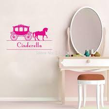 mural sticker picture more detailed picture about personalized personalized princess carriage wall decals customized kids name fairy tale horse coach vinyl mural stickers for