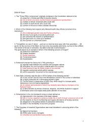 apush semester exam with answers u s state union american