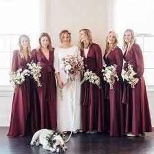 elegant burgundy long sleeve bridesmaid dresses v neck boho a line