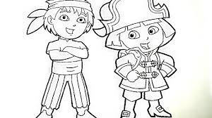 dora and diego play pirate coloring book pages videos for kids