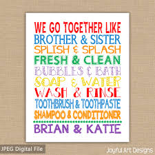 we go together like brother and sister bathroom sign custom