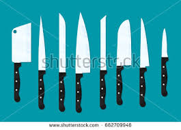different types of kitchen knives different types kitchen knives vectors set stock vector 243737371