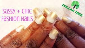 diy dollar tree nails sassy chic gold glitter tips fashion