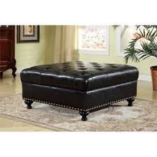Faux Leather Ottoman Furniture Of America Luciana Square Faux Leather Ottoman In Black