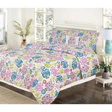 Pink And Blue Girls Bedding by Howplumb Girls Bedding Twin 4 Piece Comforter Bed Set Owl Pink