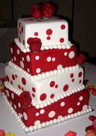 one stop wedding red and white square wedding cakes
