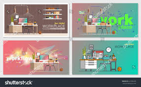 set office workplace interior designs flat stock vector 627382202