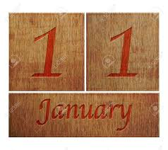 illustration with a wooden calendar january 11 stock photo
