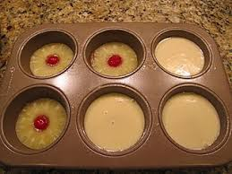 mini pineapple upside down cakes pineapple slice cherry brown