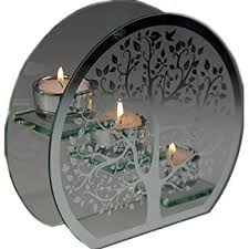 tree of silver glass tea light candle holder ornament