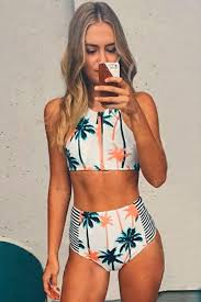 high waisted swimsuits white palm tree print cropped top and from danaecadeau womens