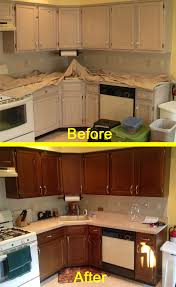 cost to change kitchen cabinet color here s our kitchen before and after the n hance wood color