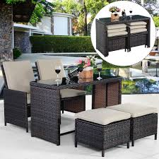 Patio Chairs With Ottomans Gym Equipment Outdoor Rattan Patio Set Furniture Cushioned With