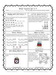 math task cards math problems and math brain teasers cards set a
