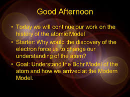 good morning starter what does an atom look like today we will