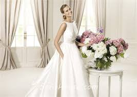 Wedding Dresses With Bows A Line Bateau Neckline V Back Satin Wedding Dress With Detachable