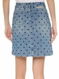 light wash denim skirt blue lightwash high waist embroidery star denim skirt chiclookcloset