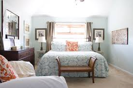 Orange And Blue Bedroom Bed Against Window The Curtains The