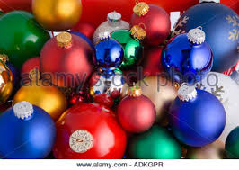 colorful tree bulb ornaments on white