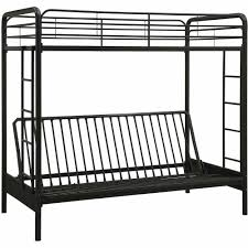 futon black wrought iron twin over futon bunk bed with red throw