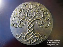 yggdrasil norse viking tree of sculpted by aric jorn