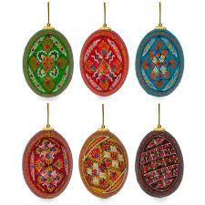 easter egg ornaments 2 5 set of 6 painted ukrainian wooden easter egg ornaments