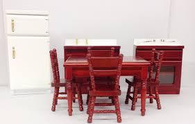 wooden dolls house furniture 8 piece kitchen dining room set 1 12