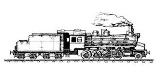 vector monochrome illustration of old steam train royalty free