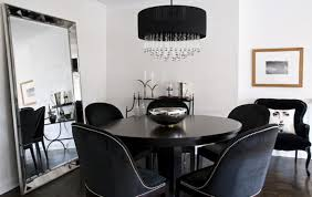 small dining room layout with drum crystal chandelier and extra
