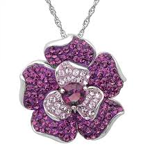 swarovski crystal flower necklace images Sterling silver flower pendant necklace made with jpg