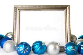 an empty silver picture frame with blue and silver