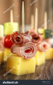 party nibbles on cocktail sticks cheese stock photo 155447627