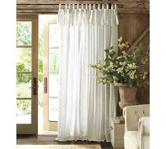Curtains With Ties Textured Cotton Tie Top Drape Pottery Barn