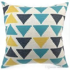 Sofa Pillow Cases Blue Geometric Cushion Cover Triangles Sofa Chair Couch Throw