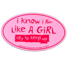 car magnet i i run like a try to keep up pink w