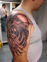 right shoulder grey and black eagle tattoo for men