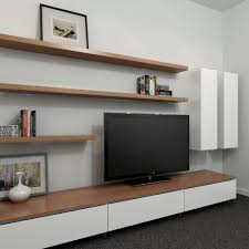 Two Tone Gray Walls by Cleanline Entertainment Unit With A Two Tone Look Entertainment
