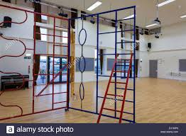 wooden floored hall sports hall with climbing equipment