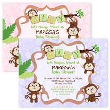 jungle baby shower invite cardstock monkey personalized boy twins jungle invitations