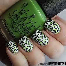 green leopard nail art for st patrick u0027s day u2022 casual contrast