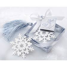 bookmark favors snowflake bookmark with silver finish and