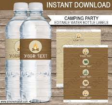 camping party water bottle labels editable template