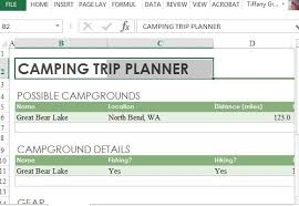 trip planner templates camping trip planner for excel