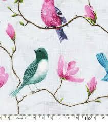 keepsake calico cotton fabric birds on branches blue joann