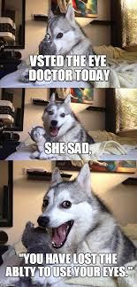 Eye Doctor Meme - bad pun dog meme imgflip