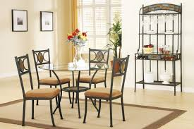 earth tone dining table set with round glass top huntington