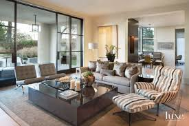 Modern Neutral Family Room With Striped Bergère Chair Luxe - Chairs for family room