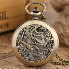 ladies pocket watch necklace images Retro beautiful magpie flower hollow bronze quartz pocket watches jpg