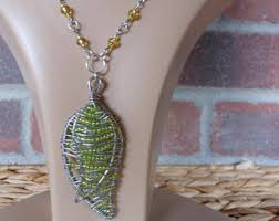 wire wrapped leaf etsy